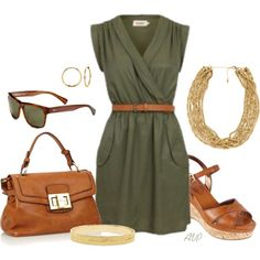 """Olive Wrap Dress"" by amy-phelps on Polyvore"