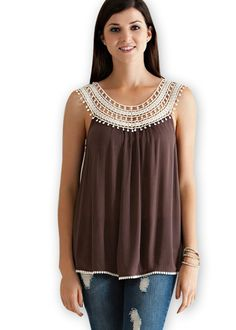 Mocha Lace Crochet Top