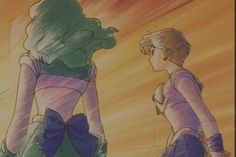 "Sailor Neptune (Michiru Kaioh) & Sailor Uranus (Haruka Tenoh) from ""Sailor Moon"" series by manga artist Naoko Takeuchi."