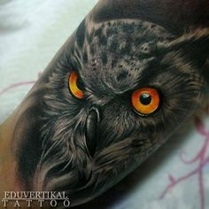 "291 Likes, 5 Comments - @owl.gifts on Instagram: ""Great tattoo 👏👏👍@eduvertikal - •EDU2016 - OWL (Tatuaje realizado en @wanted_tattoo_studio ) con…"""