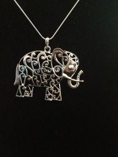 Silver Decorative Elephant Necklace by NOLAsHiddenTreasures, $14.00