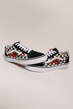 b3dde5624b Custom Rose Vans Old Skool Checkered Red   Pink Rose Vans. Vans DamierVans  Shoes WomenRose ...