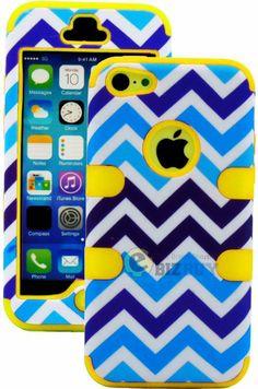Amazon.com: myLife (TM) Yellow + Blue Zig Zag Style 3 Layer (Hybrid Flex Gel) Grip Case for New Apple iPhone 5C Touch Phone (External 2 Piec...