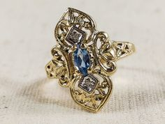 Vintage Art Deco 10K Yellow Gold 0.18ct Blue Topaz & Diamond Accents Ring Size 6 - 3.1 grams FREE SHIPPING! $149.00