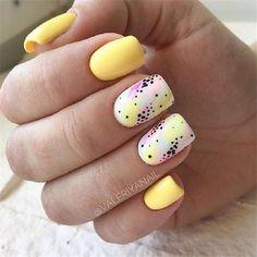 23 Great Yellow Nail Art Designs 2019 - All For Hair Color Trending Yellow Nails Design, Yellow Nail Art, Color Yellow, Cute Acrylic Nails, Cute Nails, Pretty Nails, Nagel Gel, Stylish Nails, Perfect Nails