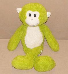"Pier 1 One Imports Lime Green White Plush Monkey Stuffed 20"" Toy Max Floppy Doll #Pier1Imports"