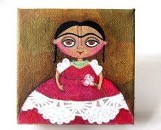 Frida in a red and white dress  an original folk art by yoborobo