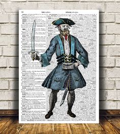 Pirate poster Dictionary print Antique print by OneDictionary
