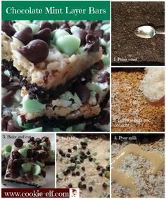 Chocolate Mint Layer Bars: ingredients, directions, and a special tip from The Elf to make Chocolate Mint Layer Bars, a yummy Christmas bar cookie. Drop Cookie Recipes, Cake Mix Cookie Recipes, Chocolate Cookie Recipes, Oatmeal Chocolate Chip Cookies, Cake Mix Cookies, Mint Chocolate, Sandwich Cookies, Cupcakes, Christmas Cookies Kids