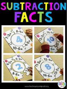 Subtraction Facts Puzzle Games - Use these 11 puzzles with your 1st, 2nd, or 3rd grade classroom or home school students for math centers or stations, activities, math tubs, review, morning work, seat work, review, early or fast finishers, and more. You get 11 different subtracting fact puzzles with differences of 0 to 10. There's also a recording sheet. Better than a worksheet!! Help your students master basic operations today. {first, second, third graders, arithmetic, mathematics}
