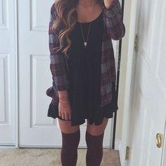 plaid shirt + black dress