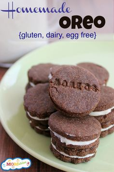 Gluten, Egg, Dairy free homemade oreo recipe for Lorin Egg Free Recipes, Allergy Free Recipes, Cookie Recipes, Dessert Recipes, Recipes Dinner, Vegan Recipes, Sem Lactose, Gluten Free Desserts, Food Allergies