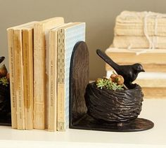 Bird Nest bookend, Pottery Barn; and books, of course!