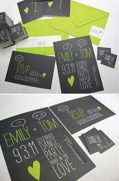 Black & Lime Invitations