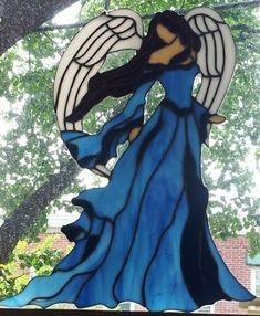 "Custom Stained Glass Panel ""Lady Angel"" by Terraza Stained Glass"
