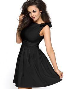 Czarna sukienka z kokardami KM112-4