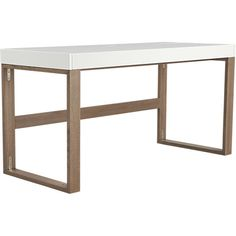 "Desk, Chamber, brown oak base, white lacquer top $499 CB2 57""W x  24""D x 29.25''H  * for jeff, entire top slides out and has full storage within white section of desk"