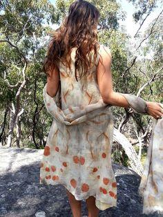 SALE Pixie eco print silk wool nuno felt dress by GinaMastio
