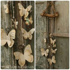 Papillon_Tutorial Chiavi Alate [My New Old Life: Mademoiselles des ideès] / Diy Wedding Gift - Wood Mobile with old book pages butterflies Diy Old Books, Old Book Crafts, Book Page Crafts, Book Page Art, Old Book Pages, Recycled Books, Recycled Art, Butterfly Mobile, Butterfly Crafts