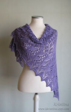 Purple hand knitted summer shawl with lace and nupps. $75.00, via Etsy.