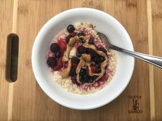 """Almond Butter and """"Jelly"""" Oatmeal - Nibble to Nourish"""