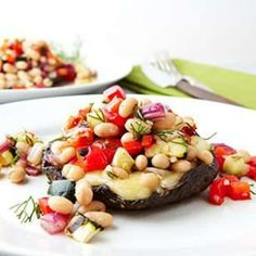 Grilled Portobellos with Chopped Salad from @EatingWell Magazine