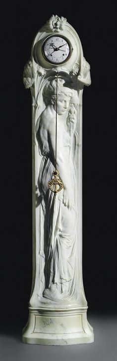 A BELGIAN 'ART NOUVEAU' MARBLE REGULATEUR -  ATTRIBUTED TO EGIDE ROMBAUX, LATE 19TH/EARLY 20TH CENTURY