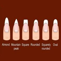 Different nail shapes. The mountain peak shape is also known as stiletto shape.