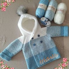 Knitting a baby sweater is the Baby Sweater Knitting Pattern, Crochet Baby Jacket, Knit Baby Dress, Knit Baby Sweaters, Knitted Baby Clothes, Baby Knitting Patterns, Baby Patterns, Crotchet Patterns, Baby Pullover