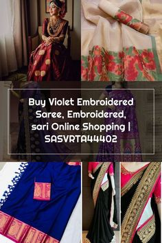 Buy Violet Embroidered Saree, Embroidered, sari Online Shopping | SASVRTA44402 Wedding Sarees, Online Shopping, Sari, Stuff To Buy, Saree, Net Shopping, Sari Dress, Bridal Sari