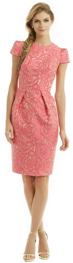 Carmen Marc Valvo Rosette Envelope Dress