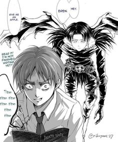 Attack on Titan/Death Note crossover Levi is a Shinigami, shame on you Eren