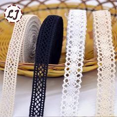 Nuevo llegado 5yd/lot alta calidad de cinta de tela de encaje beige algodón del ajuste del cordón de material de costura para el hogar accesorios de la ropa DIY
