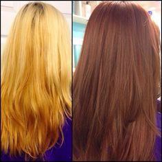Transformation Tuesday by Tronisha!! How catchy is that?! From a brassy unflattering blonde back to this beautiful rich warm brown hair color with tons of shine thanks to our awesome wella hair color glazes!! By our Bumble Network Educator! #salonheadcandy #transformations #transformationtuesday #tt #makeover #beforeandafter #wellahair