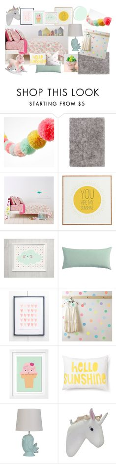 Pastel Room by thegoldensage on Polyvore featuring interior, interiors, interior design, home, home decor, interior decorating, Pillowfort, Jaipur, Universal Lighting and Decor and CB2