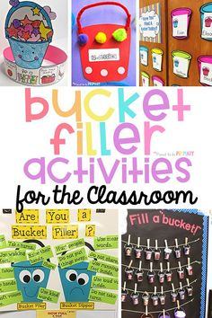 Tons of bucket filler activities and ideas for the classroom. Help kids learn to be kind and act as bucket fillers not bucket dippers with these ideas for bucket filling anchor charts, bulletin board displays, writing activities, books and videos, and printables. #bucketfiller #socialemotionallearning #charactereducation #kindness #bucketfilleractivities
