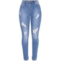 Sopheia Mid Wash Distressed Skinny Jean (935 HNL) ❤ liked on Polyvore featuring jeans, pants, bottoms, calças, distressed skinny jeans, stretch skinny jeans, distressed jeans, blue ripped skinny jeans and stretchy jeans