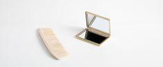 Satin-Finish Brass Compact Mirror - Kaufmann Mercantile