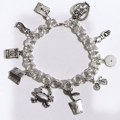Charm Bracelet Custom Made Pewter and silver plated by beadhobby