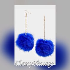 Blue fur earrings Pierced blue earrings. These are 2 inches long and rabbit fur. 1/26 arrival Boutique Jewelry Earrings