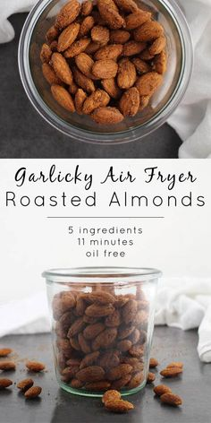 Air Fryer Roasted Almonds Garlicky Air Fryer Roasted Almonds come together so quickly in the air fryer! If you don't air fry, don't worry - you can make these in the oven, too.Don't Don't, Dont, or DONT may refer to: Healthy Vegan Snacks, Vegan Appetizers, Vegan Recipes Easy, Appetizer Recipes, Dog Food Recipes, Snack Recipes, Vegan Food, Peanut Recipes, Vegan Treats