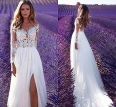 2018 Beach Wedding Dress Split Lace Chiffon Real Photos Boho Bridal Gowns Lb184 on Made-in-China.com