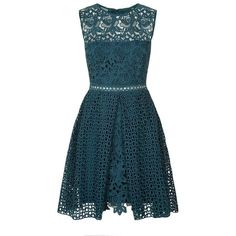 Pinko Embroidered Lace Dress (710 BAM) ❤ liked on Polyvore featuring dresses, triangle dress, blue fit and flare dress, blue embroidered dress, lace fit-and-flare dresses and pleated dress