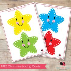 FREE CHRISTMAS STAR LACING CARDS by Busy Little Bugs