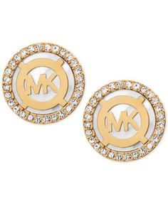 Michael Kors Mother-of-Pearl and Pav� Logo Stud Earrings