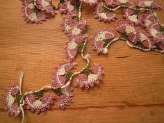 needle lace flowers, traditional turkish oya, pink lilac, white