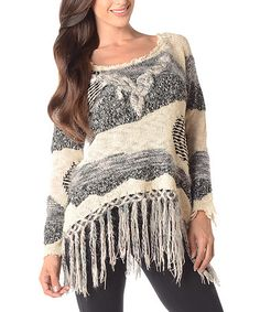 Another great find on #zulily! Ivory & Gray Fringe Scoop Neck Sweater #zulilyfinds