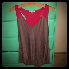 NWOT Pink & Gray Racerback Top Things to know  1) Tried on but never worn 2) Great color combo 3) Perfect for hot days 4) It's a bit of a high-low cut so the back of the top is lower than the front.  Minimally noticeable. Tops Tank Tops