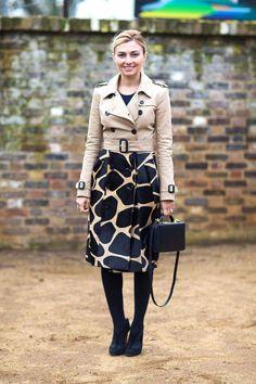 LOVE this jacket! Nasiba Adilova - Burberry and a Mark Cross Grace Box