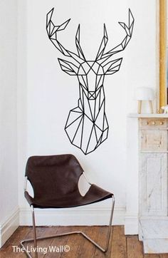 Geometric Deer Head Wall Decals, Geometric Animal Decal, Home Decor Wall Decals, Geometric Vinyl Wall Stickers Geometric Deer Head Wall Decals Geometric Animal by LivingWall Tape Art, Tape Wall Art, Washi Tape Wall, Diy Wall Art, Wall Stickers Geometric, Vinyl Wall Stickers, Wall Decals, Diy Wand, Home Wall Decor